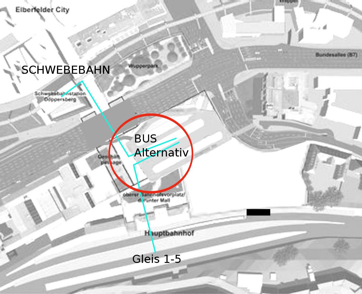 Draufsicht mit Busbahnhof in der Mitte